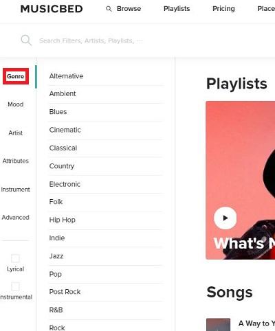 Musicbed(ミュージックベッド)楽曲検索画面
