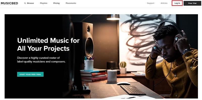 Musicbed(ミュージックベッド)トップ画面